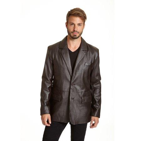 Men's Lambskin Leather 2-button Blazer with Flap Pockets (Lambskin Pocket)