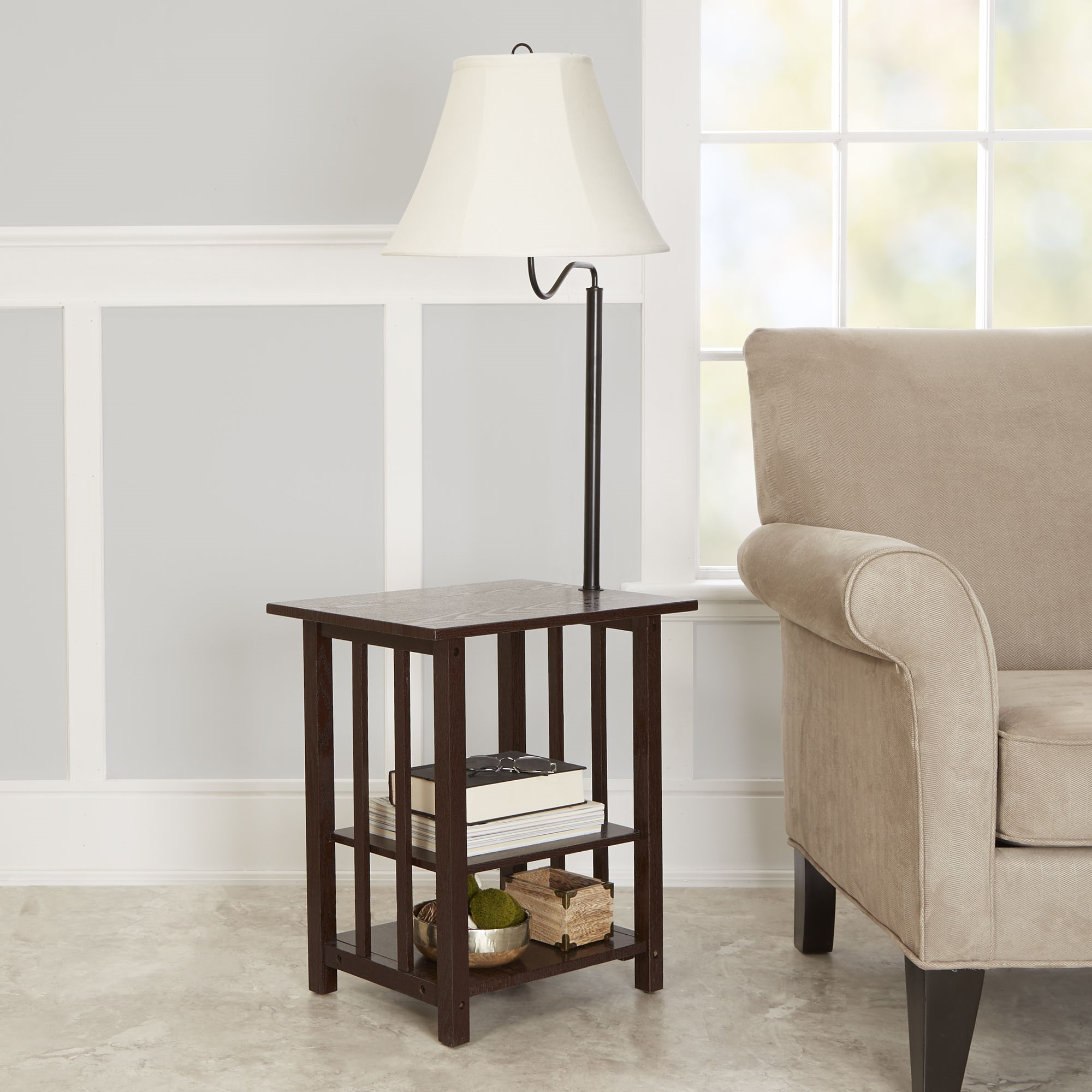 Better Homes and Gardens 3-Rack End Table Floor Lamp, Espresso Finish
