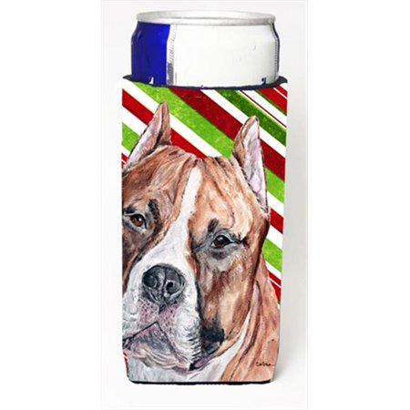 Staffordshire Bull Terrier Staffie Candy Cane Christmas Michelob Ultra bottle sleeves Slim Cans  12 Oz. - image 1 de 1