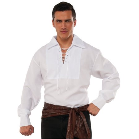 Men's Swashbuckler White Lace Up Pirate Shirt Costume