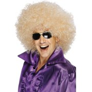 Adult Retro 70s Curly Mega Huge Blonde Afro Disco Wig Costume Accessory
