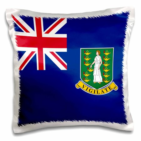 3dRose Flag of the British Virgin Islands British Union Jack on blue with Saint Ursula shield coat of arms, Pillow Case, 16 by 16-inch