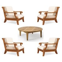 WholesaleTeak Outdoor Patio Grade-A Teak Wood 5 Piece Teak Sofa Set - 4 Lounge Chairs & 1 Round Coffee Table -Furniture only --Giva Collection #WMSSGV4