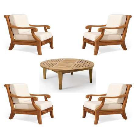WholesaleTeak Outdoor Patio Grade-A Teak Wood 5 Piece Teak Sofa Set - 4 Lounge Chairs & 1 Round Coffee Table -Furniture only --Giva Collection #WMSSGV4 ()