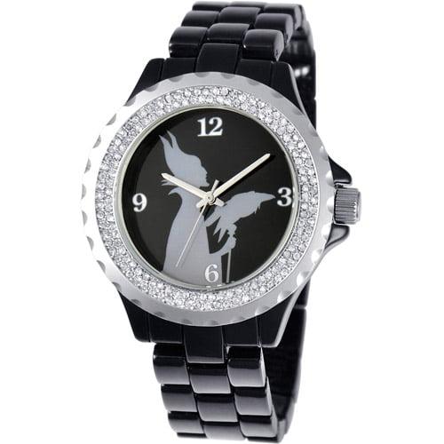 Maleficent Women's Enamel Spark Watch, Black Bracelet