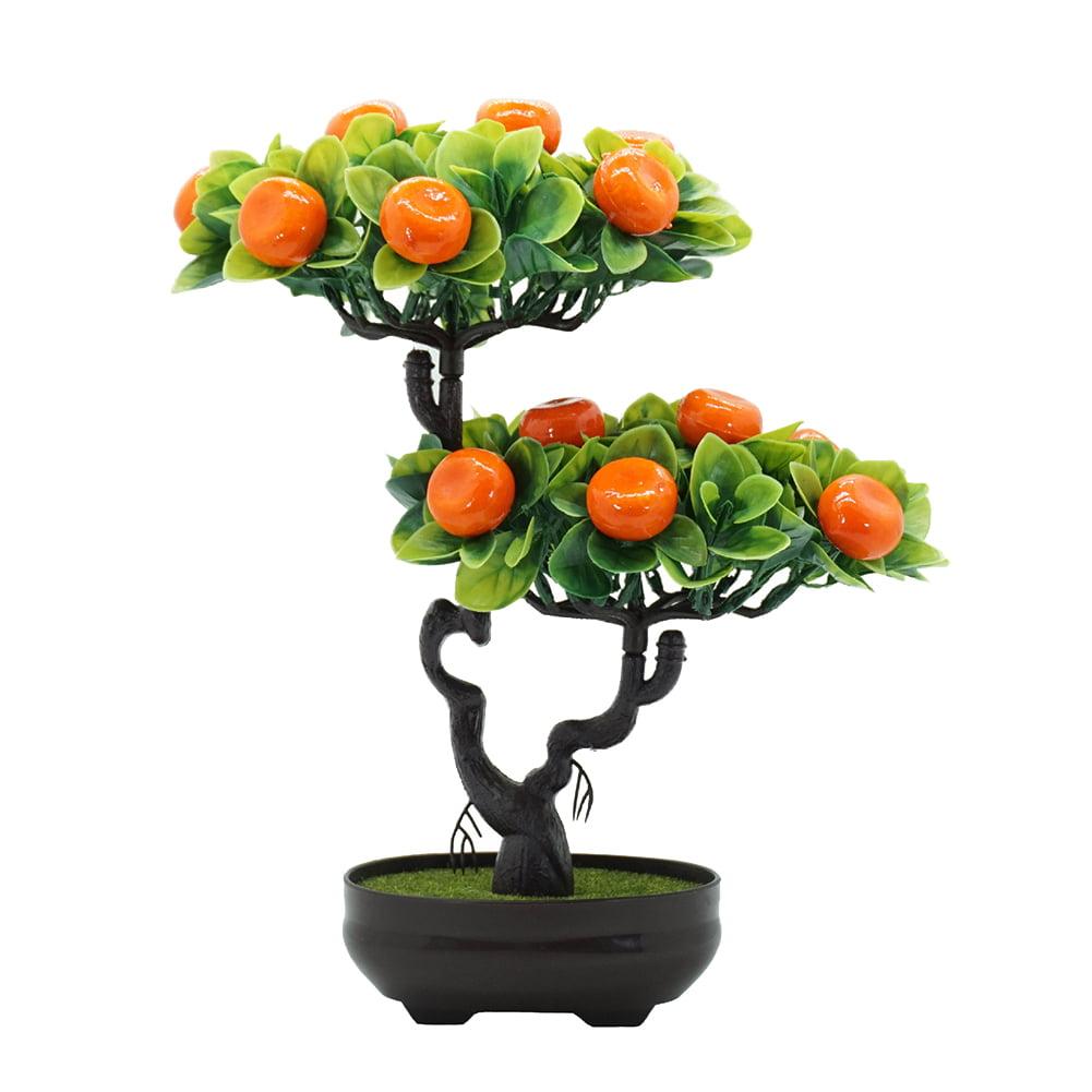 SANWOOD Artificial Peach Orange Fruit Tree Plant Bonsai ...