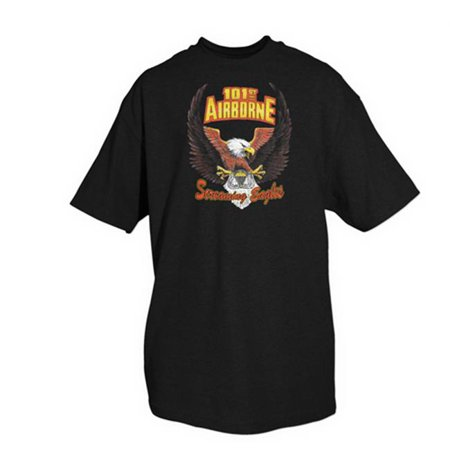 Fox Outdoor 63-9715 M 101St Airborne Screaming Eagle Imprint T-Shirt - Black, Medium Black Screamin Eagle