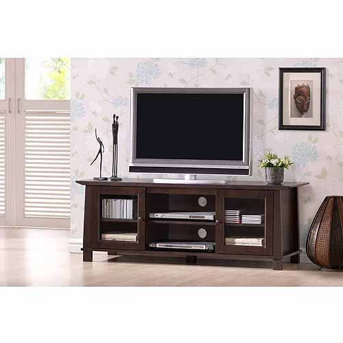 Wholesale Interiors Havana Dark Brown Wood Modern TV Stand for TVs up to 55""