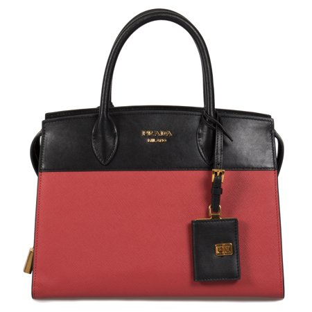 Prada Esplanade Leather Tote In Red and Black ()