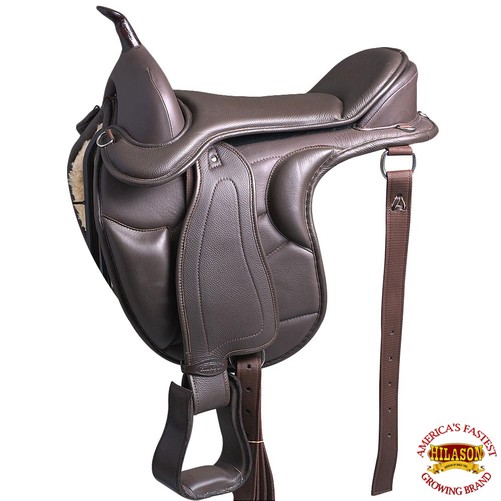 "16"" HILASON WESTERN TREELESS ENDURANCE TRAIL PLEASURE LEATHER HORSE SADDLE by"