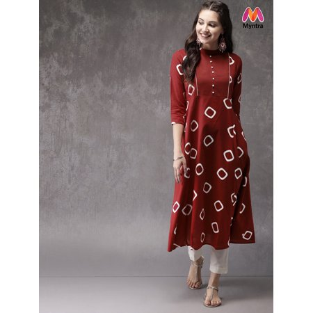aed85f019 Anouk by Myntra Women Red Printed A-Line Kurta - image 1 of 1 ...