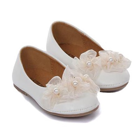 Dempsey Marie Girls Elegant Ballerina Slipper with Sheer Organza Flower and Pearl Accents - Ivory Wedding Slippers