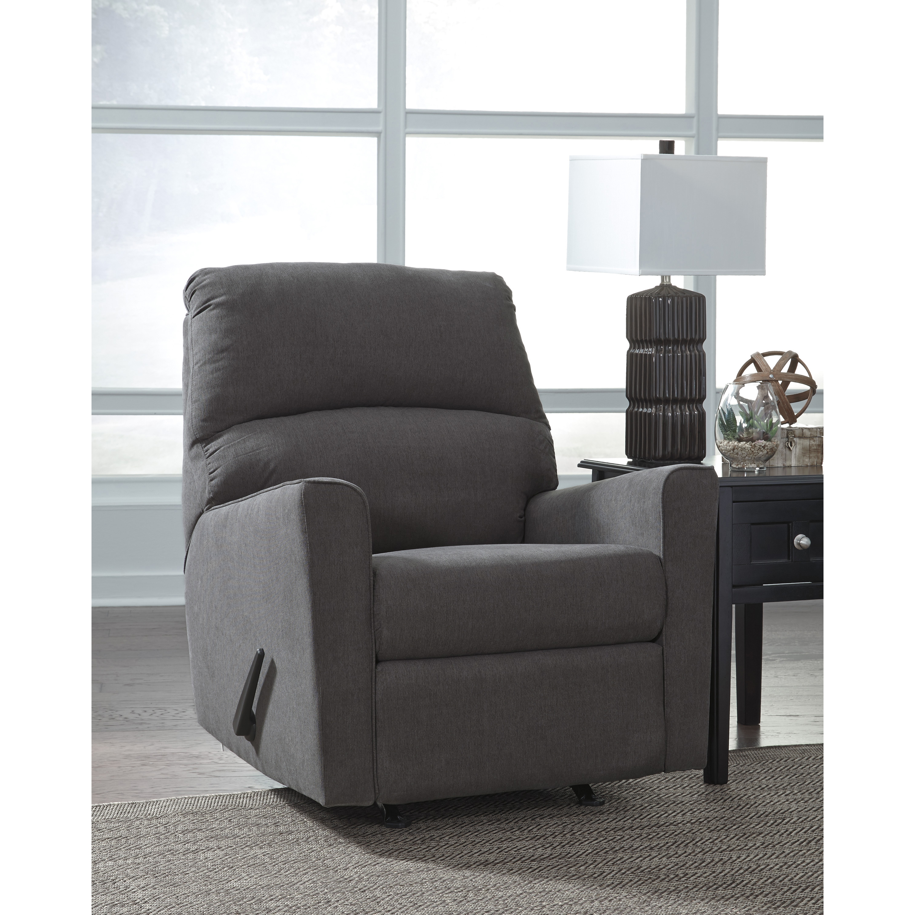 Flash Furniture Signature Design by Ashley Alenya Rocker Recliner in Charcoal Microfiber
