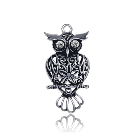 Geometric Sitting Owl Antique Silver-Plated Pendant With Clear Preciosa Czech Crystal 51x25mm pack Of 1pcs