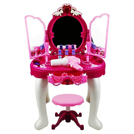 Glamorous Triple Mirror Pretend Play Battery Operated Toy Beauty Mirror Vanity Play Set w/ Flashing Lights, Music, -