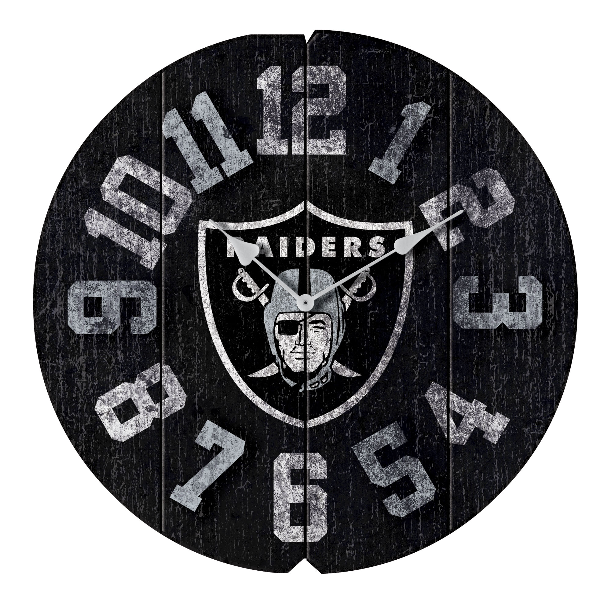 "Oakland Raiders 16"" Vintage Round Wall Clock - Black - No Size"