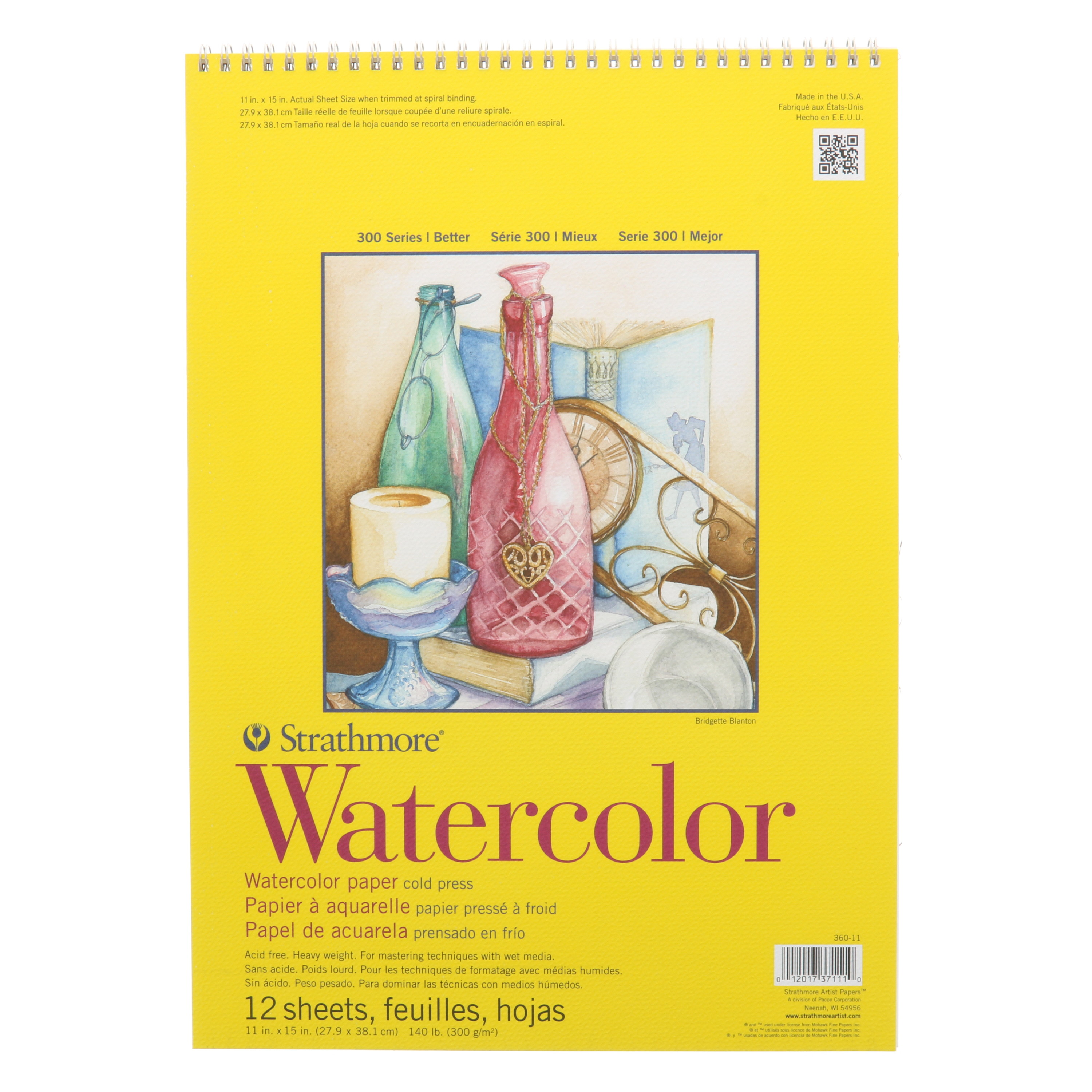 Strathmore Watercolor Paper Pad, 300 Series, 11in x 15in, Tape-Bound
