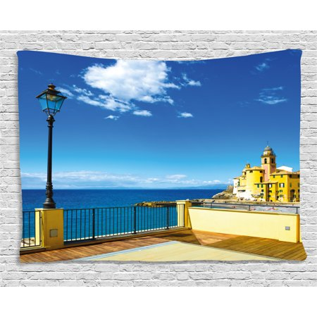 Italian Decor Tapestry, Camogli Church Sea Lamp and Balcony Tourist Spot in Ligury Italy, Wall Hanging for Bedroom Living Room Dorm Decor, 60W X 40L Inches, Blue White and Yellow, by Ambesonne Spot Lamp 60w Screw