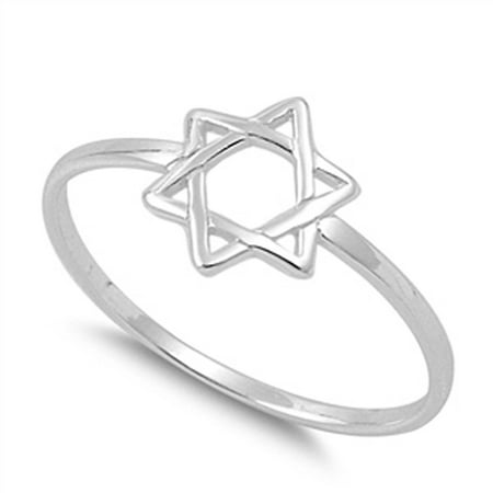 - Star of David Religious Unique Ring New .925 Sterling Silver Band Size 2