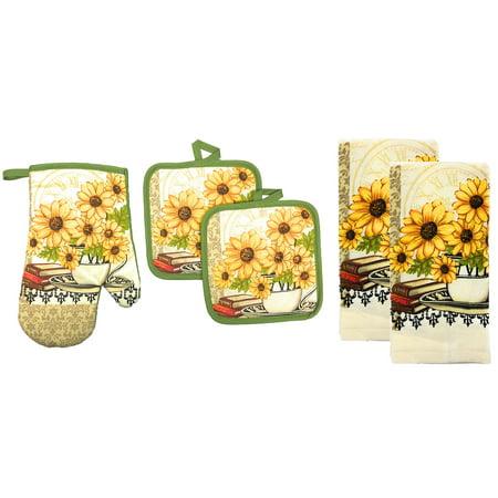 Kitchen Collection 5-Piece Daisy Bouquet Kitchen Linen Set, Yellow-Cream