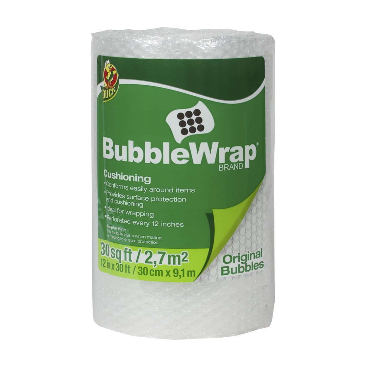 Brand Bubble Wrap Original Cushioning, 12 in. x 30 ft., Single Roll (393251), Original Bubble Wrap with 3/16-inch height bubble, provides more cushioning and.., By Duck