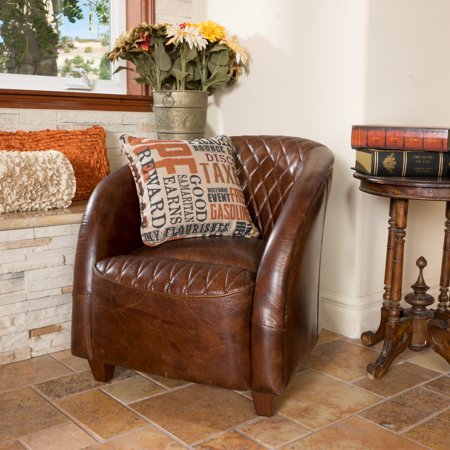 Austin Brown Tufted Leather Club Chair