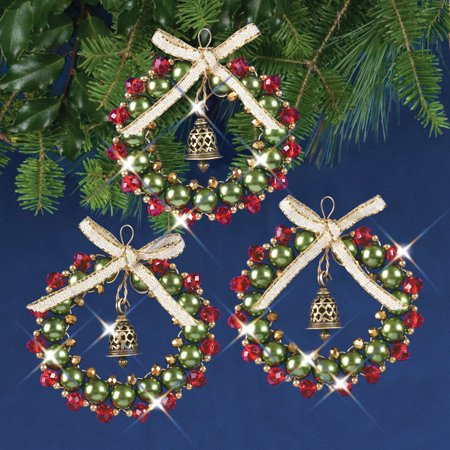 Solid Oak Kit Beaded Ornament Bell Wreath Red/Grn