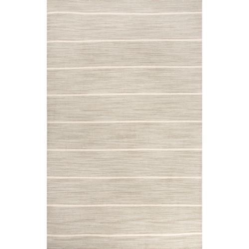 4' x 6' Ash Gray and Snow White Cape Cod Flat Weave Wool Area Throw Rug