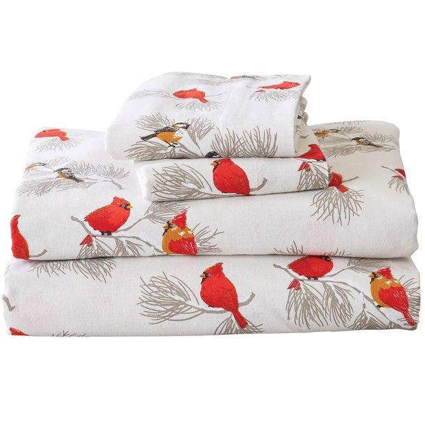 Oakridge Cardinal And Chickadee Flannel Sheet Set Turkish Cotton Flannel Queen Walmart Com Walmart Com