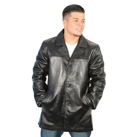 Mens Classic Black Leather Four Button Front Car Coat