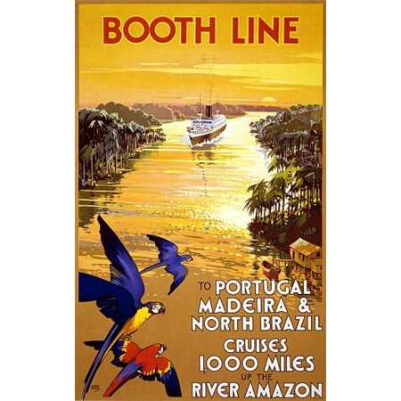Booth Line Amazon River Cruise Vintage Travel Canvas Art -  (18 x