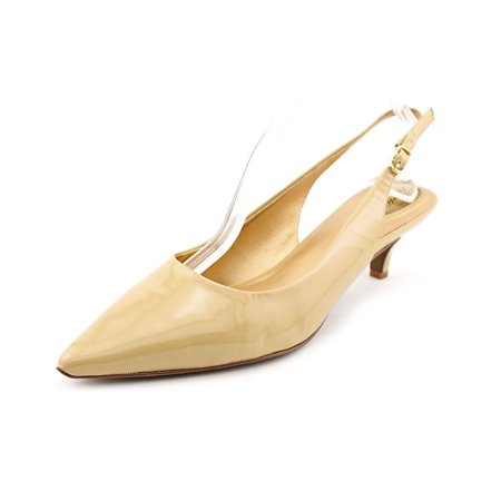 Trotters Prima Laser Women N/S Pointed Toe Patent Leather Nude Slingback Heel