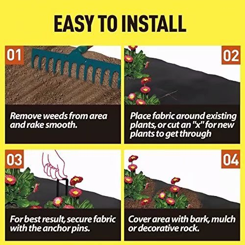 All Purpose Folded Heavy PP Woven Weed Barrier,Soil Erosion Control and UV stabilized Agfabric Landscape 6x8ft Plastic Mulch Weed Block 6 Pins Included