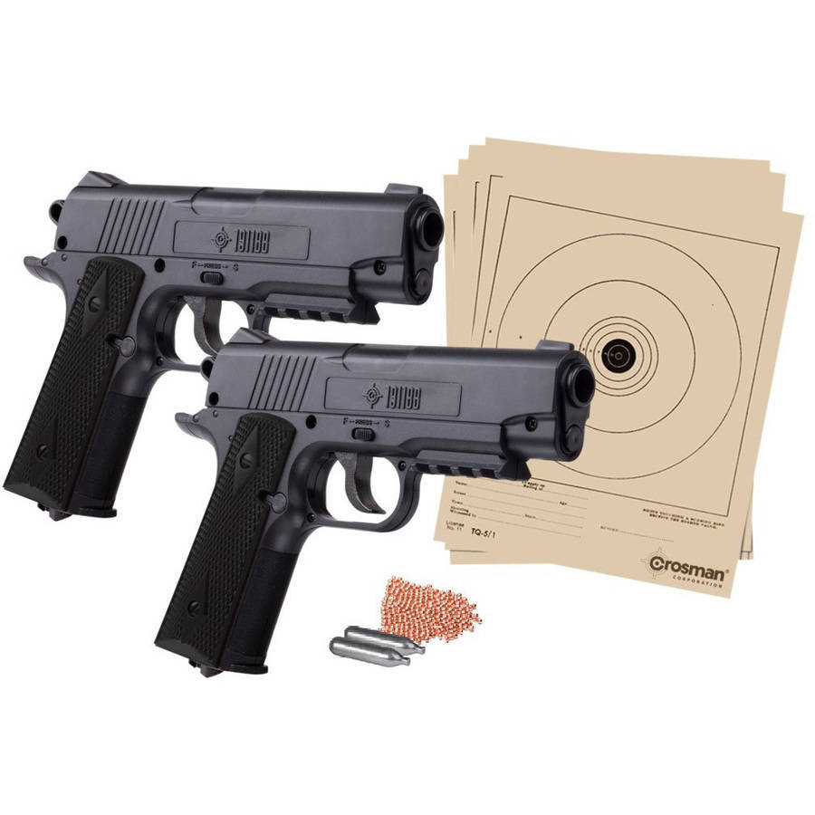 Crosman 1911 Double Down Action .177 Caliber Semi-Auto CO2 Air Pistol Bundle, 480fps
