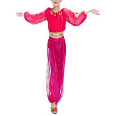 Belly Dance Costume For Kids (BellyLady Kid Tribal Belly Dance Costume, Harem Pants & Top For Halloween-rose)