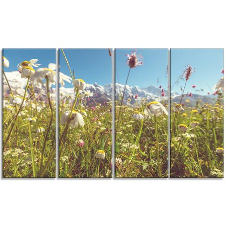 Design Art 'Blooming Mountain Meadow Flowers' 4 Piece Photographic Print on Wrapped Canvas Set (Meadows Design Lock Set)