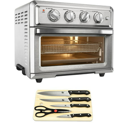 (Cuisinart Convection Toaster Oven Air Fryer with Light Silver (TOA-60) with Cuisinart Triple Rivet Collection 2-Piece Knife Set & Home Basics Two-Tone Bamboo Cutting Board)