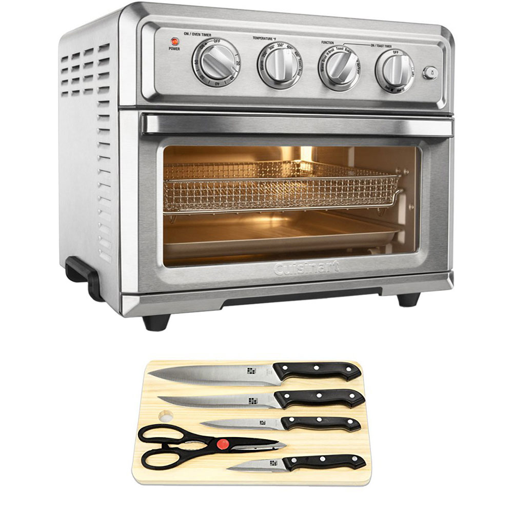 Cuisinart Convection Toaster Oven Air Fryer with Light Silver (TOA-60) with Cuisinart Triple Rivet Collection 2-Piece Knife Set & Home Basics Two-Tone Bamboo Cutting Board