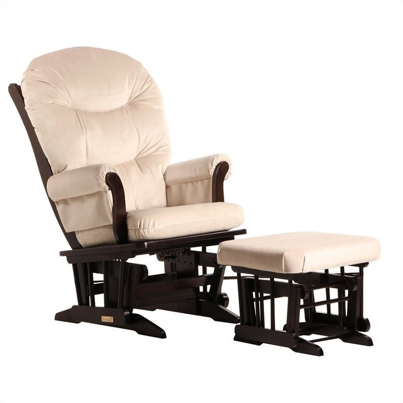 ULTRAMOTION by Dutailier Sleigh Glider and Ottoman Set in Espresso and Light Beige