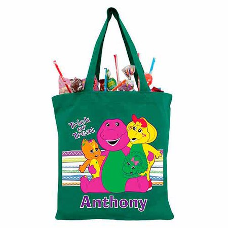 Personalized Barney Group Hug Green Trick-or-Treat Bag