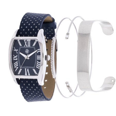 Xtreme Arm Candy Ladie's Fashion Silver Square Case / Navy Blue Leather Strap Watch with a Set of 2 Bracelets ()
