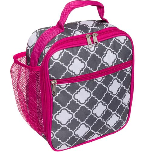 Silver Lilly Women's Insulated Cooler Lunch Box Tote Bag (Gray/White Quatrefoil)