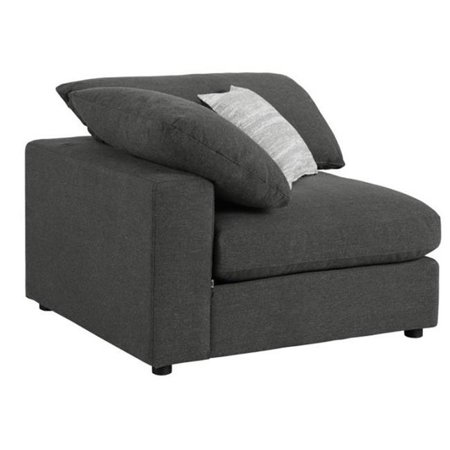 Benzara Fabric Upholstered Wooden Corner Chair with Loose Cushion Seat and Small Feet, Dark Gray ()