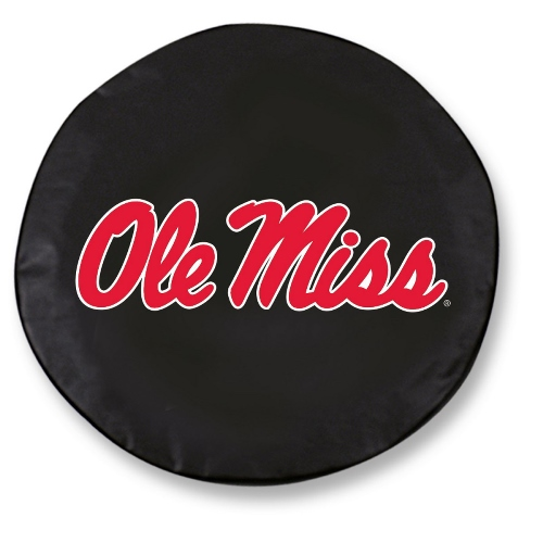 NCAA Tire Cover by Holland Bar Stool - Ole Miss, Black - 25.5 L x 8 D
