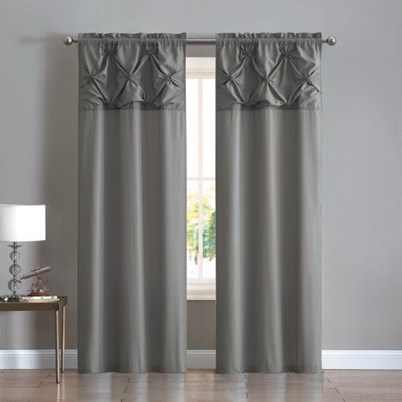 Grommet Top Panel - Mainstays Pintuck Floral Burst Grommet Top Window Curtain Panel - Set of Two, Multiple Sizes and Colors Available