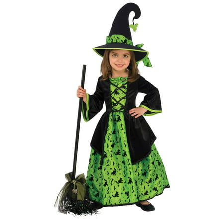 Girls Green Witch Costume](Light Up Witch)