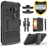 Moto E5 Play Case, Dual Layers [Combo Holster] And Built-In Kickstand Bundled with [Temerped Glass Screen Protector] Hybird Shockproof And Circlemalls Stylus Pen (Black)