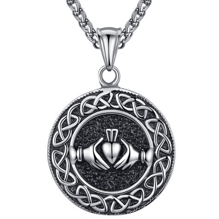 Unisex Stainless Steel Claddagh Celtic Knot Love Friendship Pendant Necklace for Men or Women ()