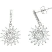 Lesa Michele Cubic Zirconia Sterling Silver Sunburst Earrings