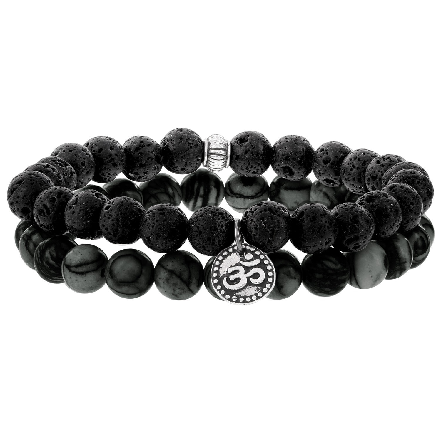 Fox and Baubles  Men's Silver Om, Beaded Stretch Bracelets